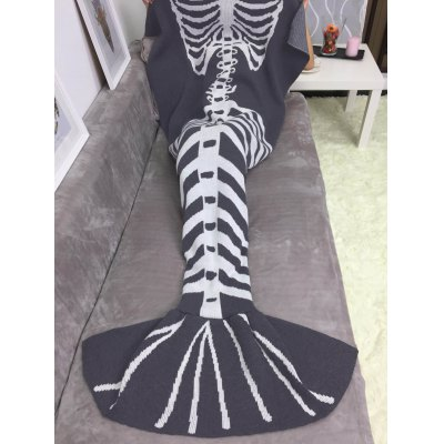 Thicken Fish Skeleton Wrap Halloween Mermaid Blanket