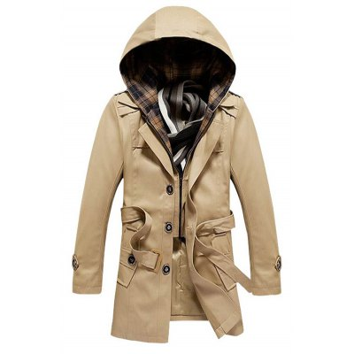 Buttoned Belted Detachable Hooded Coat