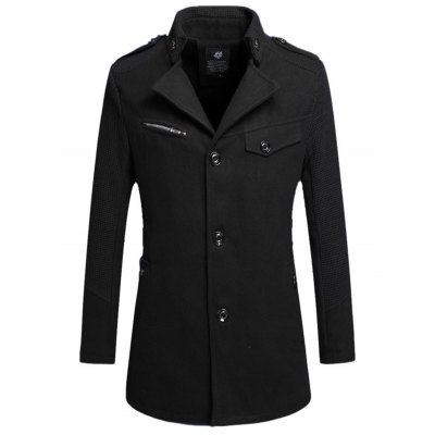 Turn Down Collar Buttoned Woolen Coat