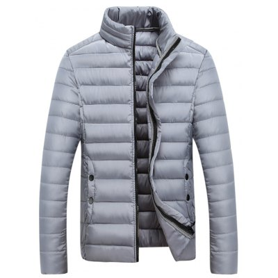 Zipped Stand Collar Padded Coat