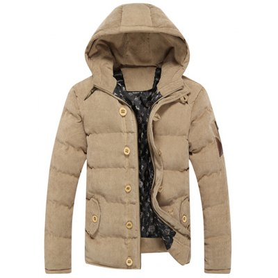 Hooded Suede Padded Jacket