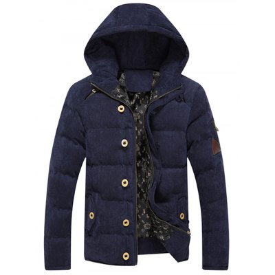 Button Embellished Hooded Suede Padded CoatMens Jackets &amp; Coats<br>Button Embellished Hooded Suede Padded Coat<br><br>Clothes Type: Padded<br>Style: Casual,Fashion,Streetwear<br>Material: Polyester<br>Collar: Hooded<br>Clothing Length: Regular<br>Sleeve Length: Long Sleeves<br>Season: Winter<br>Weight: 0.935kg<br>Package Contents: 1 x Coat