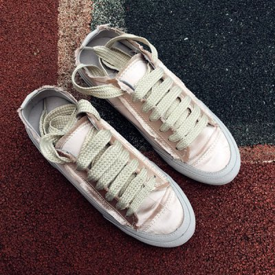Casual Lace-Up Satin Spliced Suede Sneakers