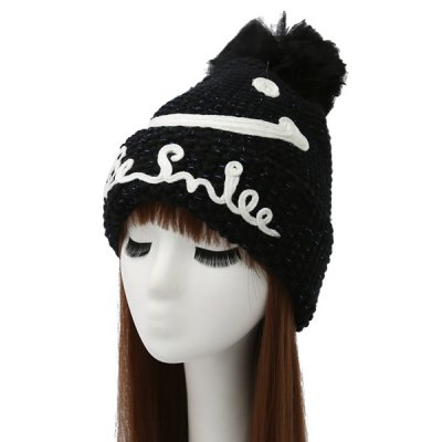 Smile Face Ball Knitted Wool Beanie Hat with Writing