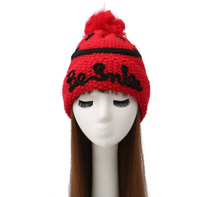 Smile Face Ball Knitted Wool Beanie Hat