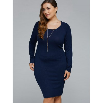Plus Size Cut Out Long Sleeve Bodycon Dress