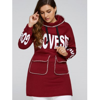 Plus Size Pocket Splice Letter Hoodie Dress
