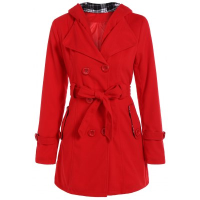 Hooded Double Breasted Belted Coat