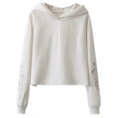 Fleeced Rose Embroidered Hoodie