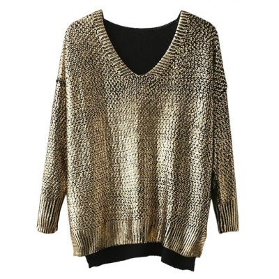 V Neck Side Slit Gilding Sweater