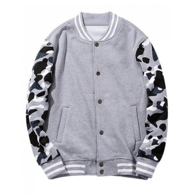 Stand Collar Buttoned Camo Sleeve Jacket