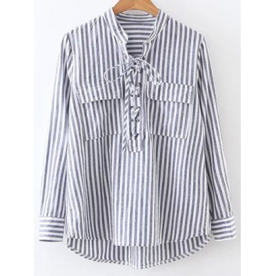 Stand Neck Striped Lace Up Shirt