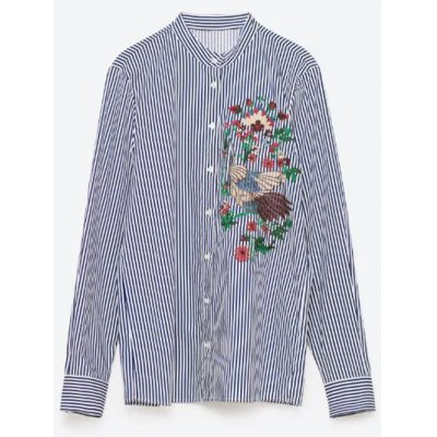 Flower Embroidered Striped Shirt