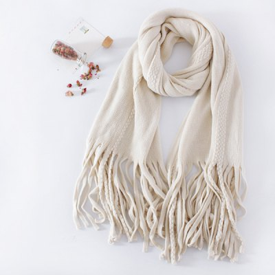 Braided Long Knitted Fringe Scarf