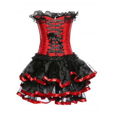 Strapless Layered Lace Spliced Corset
