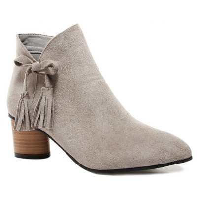 Chunky Heel Tassels Pointed Toe Ankle Boots