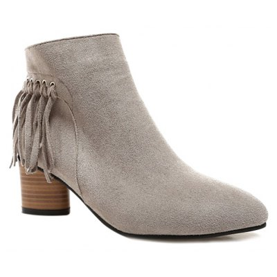 Knot Fringe Chunky Heel Ankle Boots