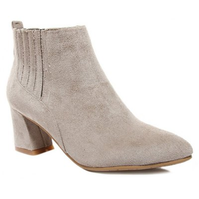 Suede Pointed Toe Ankle Boots