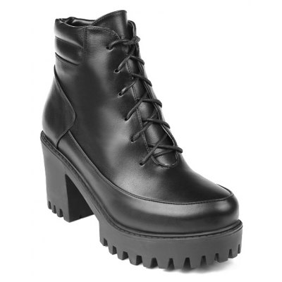 Zipper Tie Up Ankle Boots