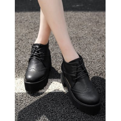 Retro PU Leather Lace-Up Platform BootsWomens Boots<br>Retro PU Leather Lace-Up Platform Boots<br><br>Boot Height: Ankle<br>Boot Type: Fashion Boots<br>Closure Type: Lace-Up<br>Gender: For Women<br>Heel Height: 7CM<br>Heel Height Range: Med(1.75-2.75)<br>Heel Type: Platform<br>Package Contents: 1 x Boots (pair)<br>Pattern Type: Solid<br>Platform Height: 4.5CM<br>Season: Spring/Fall<br>Shoe Width: Medium(B/M)<br>Toe Shape: Round Toe<br>Upper Material: PU<br>Weight: 1.456kg