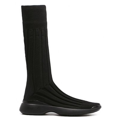 Mid-Calf Platform Knitted Boots