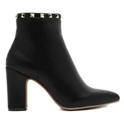 Chunky Heel Rivet Pointed Toe Boots