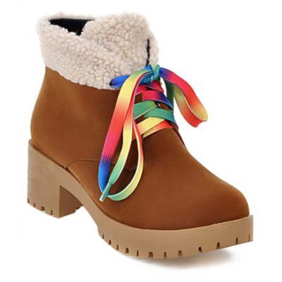 Color Block Splicing Tie Up Ankle Boots