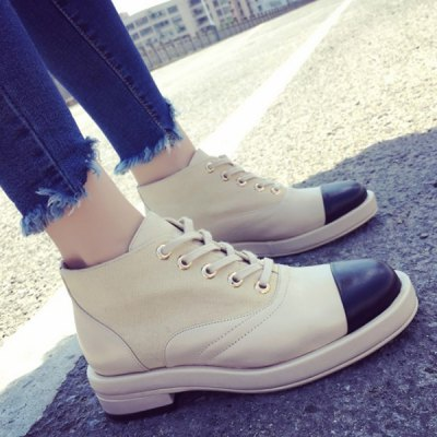 Splicing Lace-Up Ankle Boots
