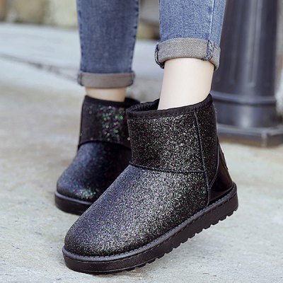 Splicing Sequined Cloth Flat Heel Snow Boots