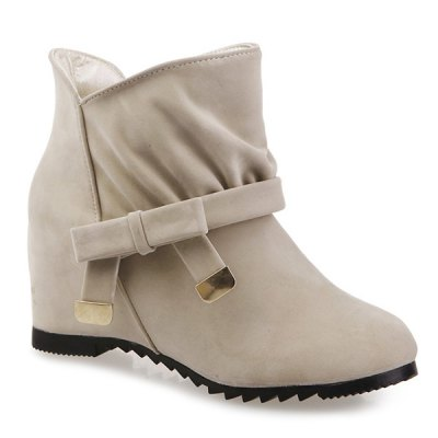 Round Toe Bow Short Boots