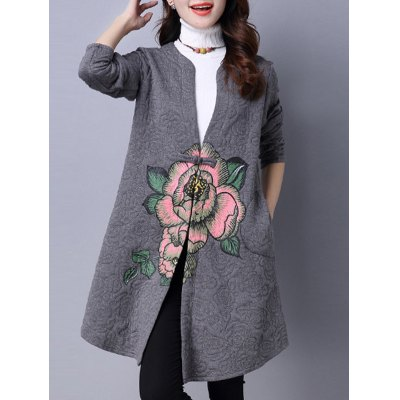 Collarless Cotton Coat With Floral Print
