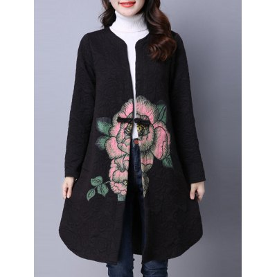 Collarless Cotton Coat With Flower Print