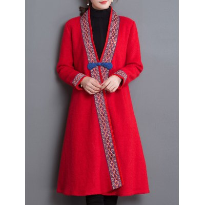 Tribal Embroidery Trim Frog Button Coat