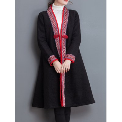 Embroidery Trim Frog Button Coat