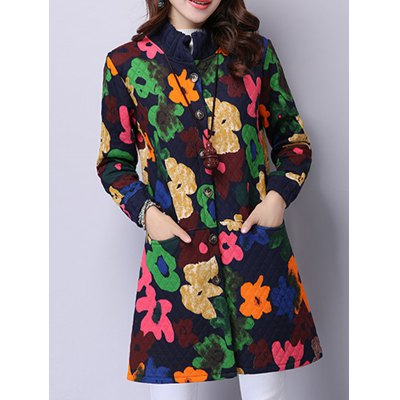 Button Up Floral Padded Coat