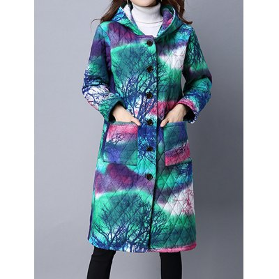 Tie Dyed Hooded Padded Coat