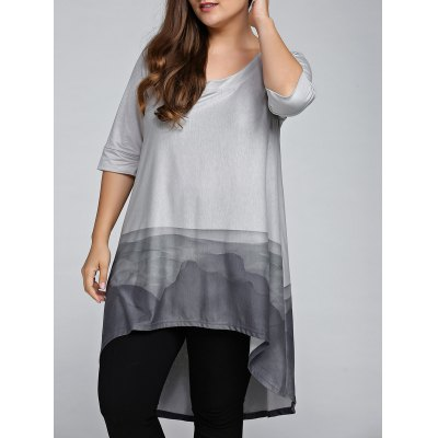 Plus Size Printed High Low T-Shirt