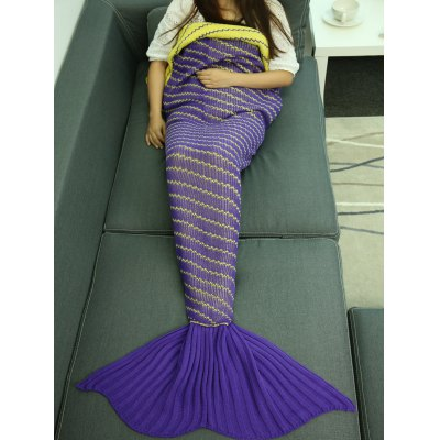 Crochet Oblique Stripe Sleeping Bag Wrap Mermaid Blanket