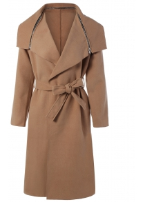 Zipped Belted Long Shawl Wrap Coat