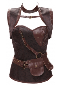 Gothic Faux Leather Belted Corset