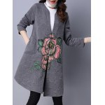 cheap Collarless Cotton Coat With Flower Print