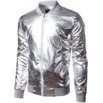 cheap Stand Collar Zip-Up Metallic Bomber Jacket