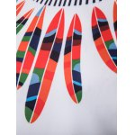 Hooded Color Block Feathers Print Long Sleeve Hoodie for sale