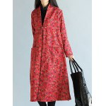 cheap Floral Frog Button Maxi Coat