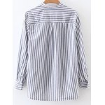 cheap Stand Neck Striped Lace Up Shirt