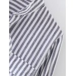 Stand Neck Striped Lace Up Shirt deal