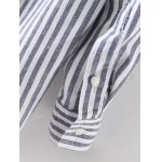 best Stand Neck Striped Lace Up Shirt