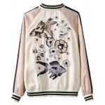 cheap Stand Neck Fish Embroidered Souvenir Jacket