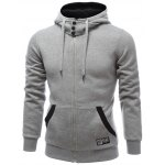 cheap Hooded Buttons Embellished Zip-Up Hoodie