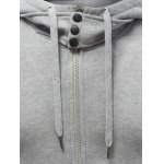 best Hooded Buttons Embellished Zip-Up Hoodie
